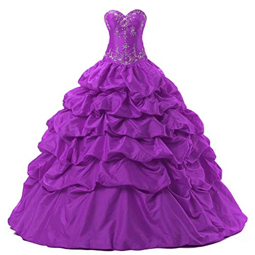 Vantexi Women′s Pretty Ball Gown Quinceanera Dress Prom Party Evening Gowns Fuchsia Size 4 ()