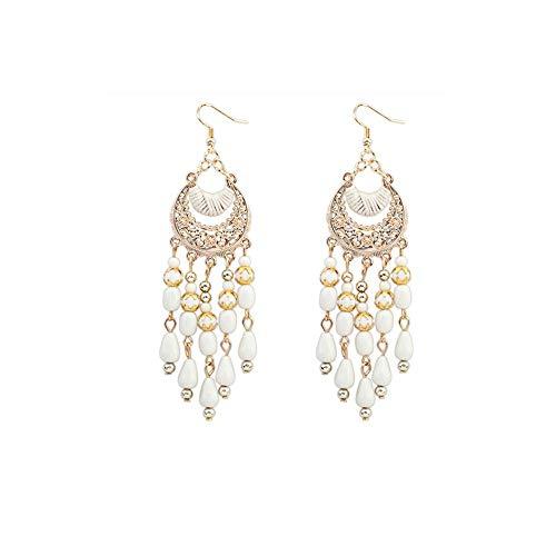 Tassel Earrings, Muranba Women Charm Bohemian Colorful Beads Ear Drops Dangle Tassels Earrings 1 Pair (White)