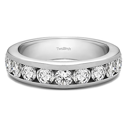 0.1 ct. CZ Traditional Round Channel Set Wedding Ring in Silver (1/10 ct. twt.) 0.1 Ct Channel Set