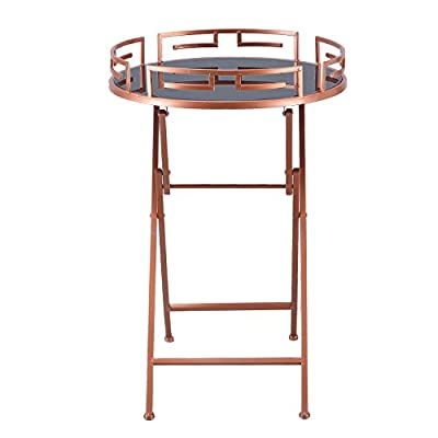 Adeco Luxury Modern Accent Metal Side End Tray Table (Rose Gold) - Sturdy steel construction and durable indoors or outdoors Round tray has 19 inch diameter and 27.95 inch tall Decorative metal end table with glass top tray surface - living-room-furniture, living-room, end-tables - 41yiYoCVsRL. SS400  -