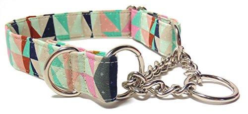 Geometric Girl Pink and Mint Half Check Chain Collar, Designer Cotton Dog Collar, Adjustable Handmade Fabric Collars (M)