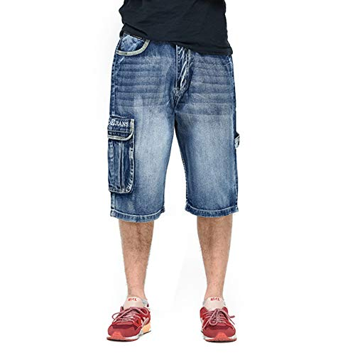 Ruiatoo Men's Jeans Shorts Cargo Five Pockets Denim Jeans Relaxed Fit Big and Tall Loose Work Pants Blue 38 Denim Five Pocket Shorts
