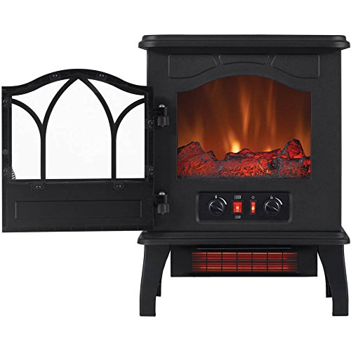 Electric Quartz Infrared Fireplace Stove Heater with Adjustable Thermostat