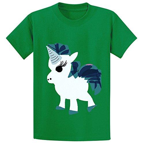 Chas U Is For Unicorn Cartoon Teen Crew Neck Customized Shirts Green (Adult Cheer Bear Dress)
