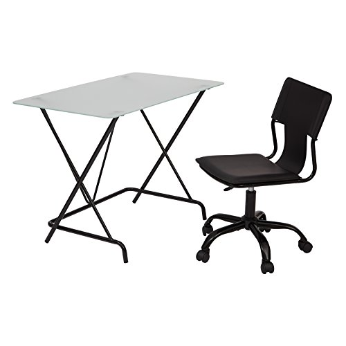 OSP Designs TCS62913-osp 2 Piece Desk Set with Frosted Tempered Glass Top and PVC Covered Seat and Back Chair, Black