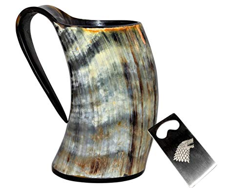 Sun & Moon Viking Drinking Horn Cup Tankard Handcrafted Ox Cup Goblet - Drink Mead & Beer Like Game of Thrones Heroes with This Large Ale Stein A Perfect Present for Real Men (20oz) ()