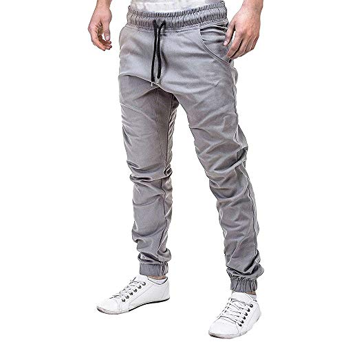 - Men's Sweatpants, Fashion Casual Plus Size Drawstring Elastic Waist Solid Sport Joggings Baggy Pocket Trousers