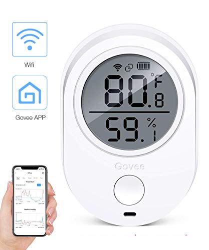 Temperature Humidity Monitor, Govee Digital Indoor Hygrometer Thermometer for cellphone, WIFI Temperature Humidity Smart Sensor with Alerts. Temperature Humidity Gauge for home, house, garage and wine