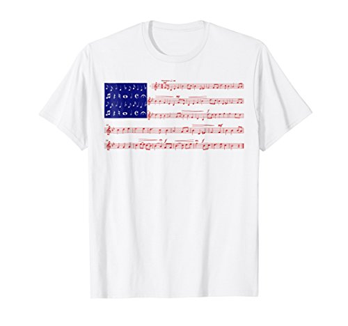 Price comparison product image 4th Of July Gift Independence Music Note America Flag Tshirt