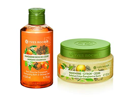 Yves Rocher Les Plaisirs Nature Energizing Bath & Shower Gel - Mandarin Cedar Wood, 200 ml./6.7 fl.oz. + Energizing Sugar Body Scrub - Mandarin Lemon Cedar, 150 ml./5 fl.oz. -