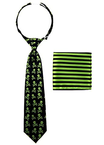 Canacana Cool Funky Skulls Woven Microfiber Pre-tied Boy's Tie with Stripes Pocket Square Gift Box Set - Green and Black - 8 - 10 years, Christmas - Kids Necktie