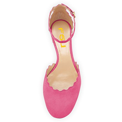 Heels Ankle Toe Waved Chic FSJ 4 for D'Orsay Ballet Comfy Shoes Round Pink Flats Women Driving US 15 Strap Size Low qzBnxwx41C
