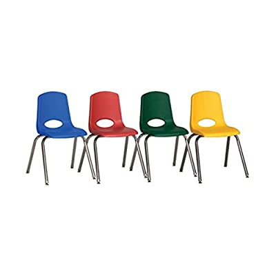 ECR4Kids School Stack Chair with Chrome Legs and Ball Glides