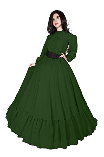 Civil War Reenactment Victorian Garibaldi 3 Piece Dress (2XL/3XL, Hunter Green) (Pre Civil War North And South Differences)