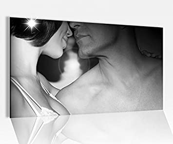 26c8cc7418cd44 Acrylglasbild 80x50cm Liebe Romantik Kuss Frau Mann Erotik schwarz weiß  Glasbild Bilder Acrylglas Acrylglasbilder 14D879