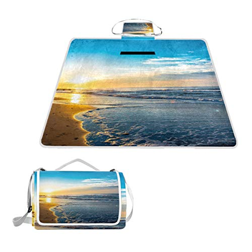 (YCHY Ocean City NJ Sunrise Picnic Mat Sandproof and Waterproof Outdoor Picnic Blanket for Camping Hiking Beach Grass)