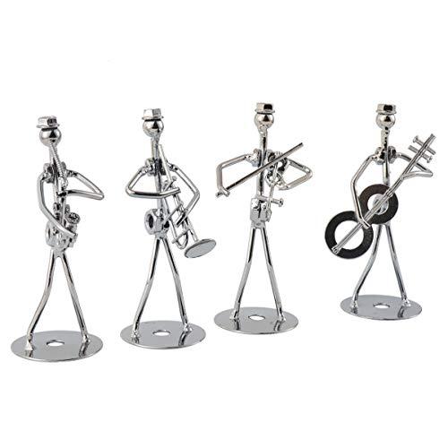 BESPORTBLE 4Pcs Music Man Statue Metal Musician Orchestra Set Guitar Trombone Saxophone Player Model Desktop Ornament for Home Office