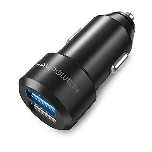 USB Car Charger RAVPower 24W 4.8A Metal Dual Car Adapter, Compatible iPhone Xs XS Max XR X 8 7 Plus, iPad Pro Air Mini, Galaxy S9 S8 S7 S6 Edge Note, Nexus, LG, HTC and More (Black) ()