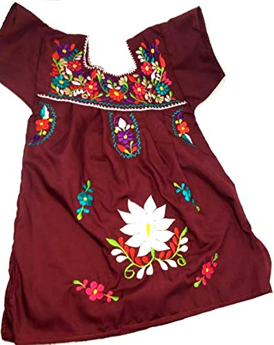 Mexican Clothing Size 2 Baby Girls Mexican Dress Tehuacan Color Hot Red Fiesta Mexicana 5 de Mayo Halloween