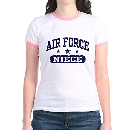 CafePress Air Force Niece Jr. Ringer T Shirt Jr. Ringer T-Shirt, Slim Fit 100% Cotton Ringed Shirt Pink/Salmon