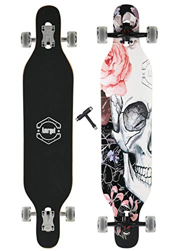 WiiSHAM Longborads Skateboards 42 inches Complete Drop Down Through Deck Cruise Professional Longboard
