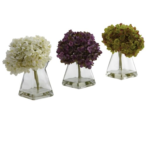 Nearly Natural 1313-S3 Hydrangea with Vase, White/Purple/Green, Set of - Wishes Vase Flower Best