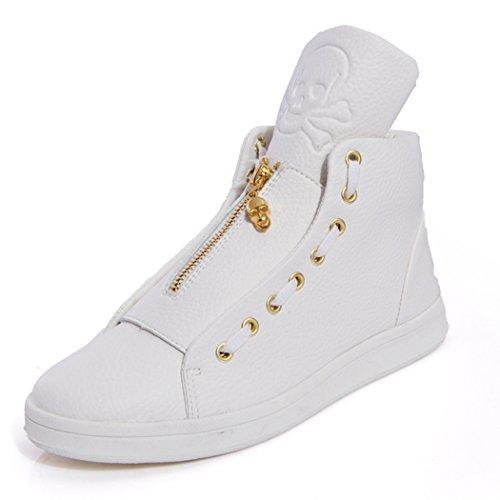 Zon Florence Mannen Mode Pop Koele Ongedwongen Schedel Decoreren Hoge Top Sneaker Schoenen Wit