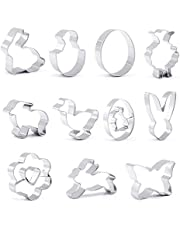 GWHOLE Cookie Cutters 11 PCS Easter Cookie Cutter Set Stainless Steel Egg Bunny Chick