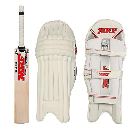 MRF English Willow Cricket BAT with Genius L E Batting Leg Guard – Best Cricket Bat in 2021