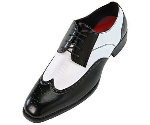 Bolano Mens Two-Tone Wingtip Smooth Black and White Ostrich Leg Print Oxford Dress Shoe: Style Cambria Black-473