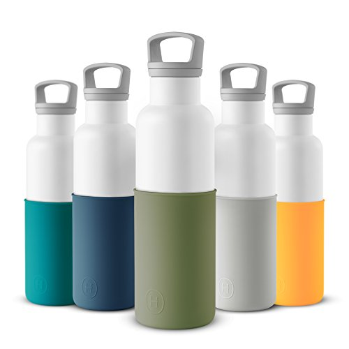 HYDY Vacuum Insulated Thermal Water Bottle 20 oz - BPA Free Stainless Steel - Eco Friendly - Ideal for Exercise, the Office and Travel - Modern Stylish Urban Design (WHITE- SEAWEED GREEN)