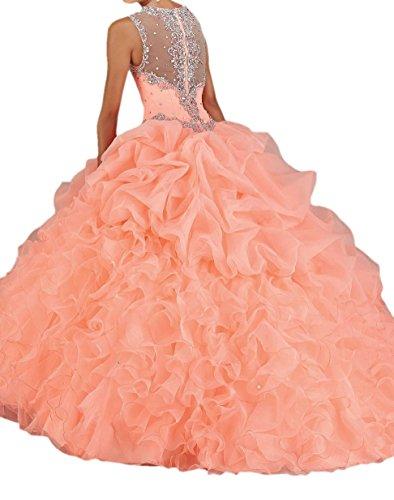 Engerla Mujer Correas cuentas Pearl Sheer diseño cascada de novia quinceañera de organza vestido Coral