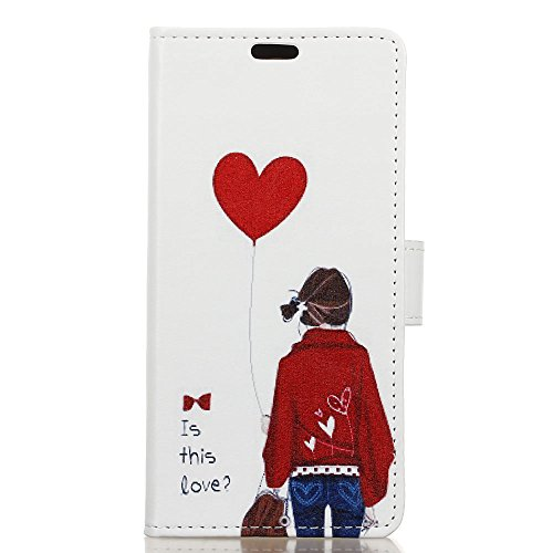 LG Q8 Case, Ssenlin Heart Painted Flip PU Leather Wallet Case Stand [Card Slots] Magnetic Snap Flexible TPU Bumper Protective Phone Case Cover Skin Fit For LG Q8 -
