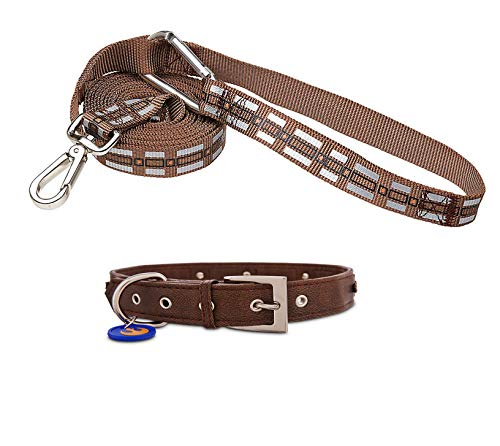 LucasFilms Star Wars Hands Free Chewbacca Dog Lead with Matching Chewbacca Brown Dog Collar for Medium Dogs (Neck Size (14-18