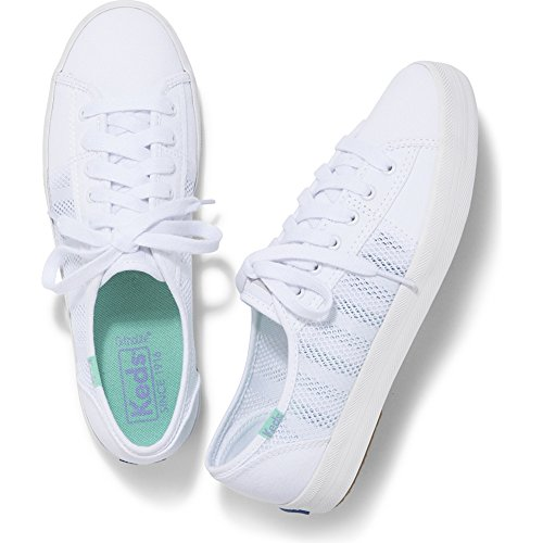 Keds Women's Kickstart Striped Mesh Sneaker, White, 9 M US