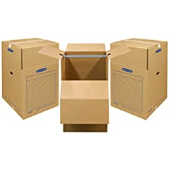 """Bankers Box SMOOTHMOVE WARDROBE Box Short 20x20x34 3pk. Wardrobe boxes are designed specifically for moving and storage of hanging items. Each box includes a 24"""" hanger bar which can accommodate up to 2 linear feet of closet items. The wardro..."""