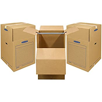 "Bankers Box SmoothMove Wardrobe and Moving Boxes, 20"" x 20"" x 34"", 3 Pack (7710902)"