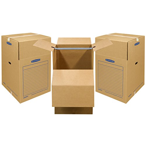 Bankers Box SmoothMove Wardrobe Moving Boxes, Short, 20 x 20 x 34 Inches, 3 Pack (7710902) (Coat Moving Box)