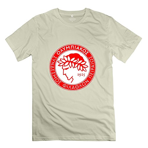 fan products of Yisw Male Olympiacos FC T-Shirt M Natural Short Sleeve Vintage Tees Shirt