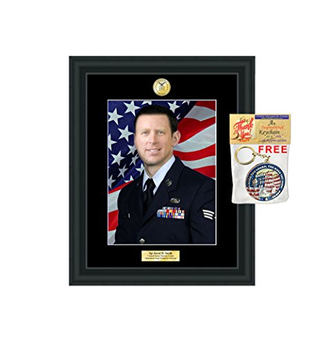 Law Enforcement Military Engraved Gift Frames 8x10 Plaque Air Force FBI Police US Navy Sheriff Marine Corps Personalized CIA USCG Homeland Security Matte Black Matted