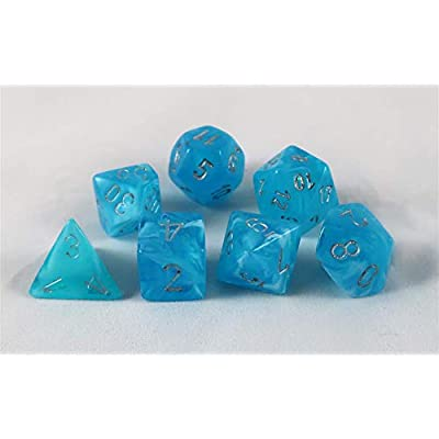 Chessex Luminary Polyhedral Sky-Silver 7-Die Set: Toys & Games