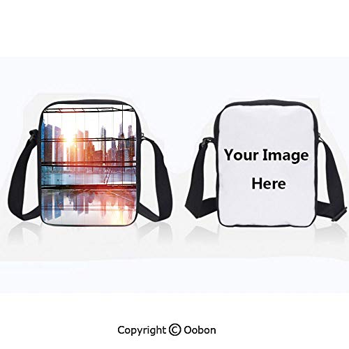City Cross Disco Body - Unisex Adult Polyester Crossbody Bag Waterproof Modern City View with Skyscrapers Vibrant Sunset River Empty Place Black White and Orange Zipper Anti Theft Shoulder Bag For Travel