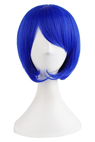 MapofBeauty Fashion Girl Natural Short Straight Wigs Diagonal Bangs Wigs-Navy Blue-Ladies]()
