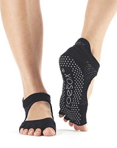 Toesox Women's Bellarina Half Toe Grip Non-Slip Socks (Onyx) Medium