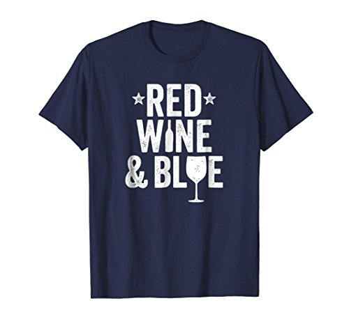 4th of July Wine Shirt for Women July Fourth Red Wine & Blue