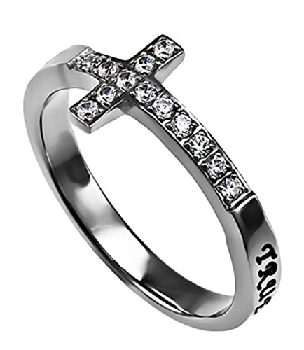 True Love Waits Ring Sideways Cross Purity, Christian Chastity Ceremony, Stainless Steel (6)