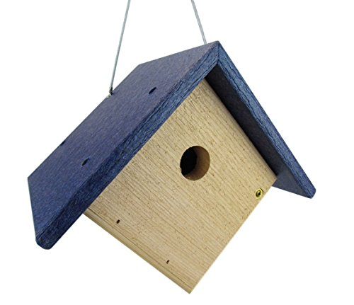 JCs Wildlife Cedar & Poly Wren, Chickadee, Warbler Birdhouse, Blue Roof