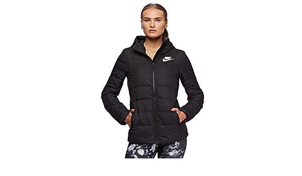 e8fd9f590008 Nike Women s Sportswear Down Fill Hooded Jacket Black  Amazon.com.au   Fashion