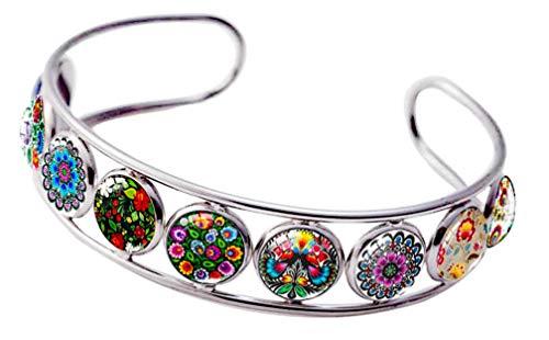 Folk Jewelry - Blazing Autumn Cuff Bracelet Art Pattern Under Glass Dome Jewelry Handmade (Folk Art Patterns Flowers)