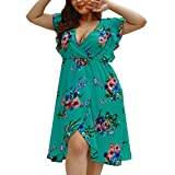 CCatyam Plus Size Dresses for Women, Skirt V Neck Print Sexy Mini Casual Summer Holiday Fashion Blue